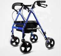 Portátil super luz mayor adulto de compras plegable de 4 ruedas asiento rolling andador silla de ruedas Carro de mano Scooter de rueda