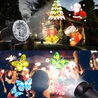 Motion LED Navidad copo de nieve luces proyector de diapositivas al aire libre Año Nuevo decoraciones para el hogar 12 patrones Luz de decoración de Navidad