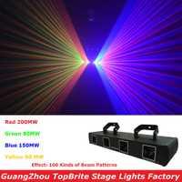 Venta de la fábrica 4 lente 510 MW rgby DMX Proyector láser DJ disco láser etapa equipos de iluminación profesional 4 haz cabezas luz de la colada