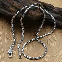 Puro sólido Plata de Ley 925 Simple gargantilla collar hombres pulido enlace cadena collar Vintage tailandés plata hombres joyería caja libre