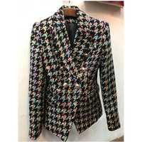 Alta calidad la más nueva manera 2018 diseñador de la chaqueta de las mujeres León botones colores Houndstooth Tweed chaqueta abrigo