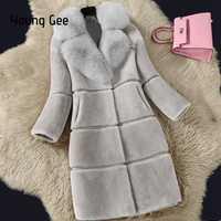 Joven vaya 2019 las mujeres de invierno de piel de zorro Collar espesar abrigos Artificial de piel prendas de piel sintética de piel elegante, casaco feminino