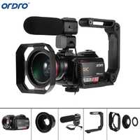 Ordro AC5 4 K UHD videocámaras con micrófono Zoom 12X FHD 24MP WiFi IPS pantalla táctil Digtal óptico mini DV videocámaras