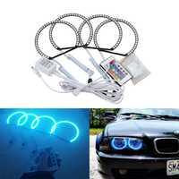 4*131mm 5050 Led Car Ángel Eyes kit rgbw control remoto para BMW E36 E38 E39 E46 con proyector RGB chaning Faro de niebla