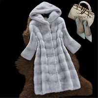 Con capucha chaqueta de piel sintética 2019 mujeres otoño invierno nuevo alta calidad visón falso abrigo de piel de moda de manga larga de las señoras abrigo de piel de