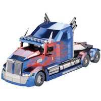 2018 MU 3D Metal puzle Optimus Prime camión nuevo modelo DIY 3D corte láser ensamblaje Jigsaw Juguetes Decoración de escritorio regalo para auditoría
