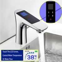 JMKWS cubierta montada LCD pantalla Digital lavabo grifo pantalla táctil termostática baño único grifo cromo latón grifos lavabo