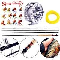 Sougayialng 8.86FT #5/6 canne à pêche à la mouche Set 2.7 M canne à mouche et moulinet à la mouche Combo avec ligne de leurre de pêche boîte ensemble matériel de canne à pêche