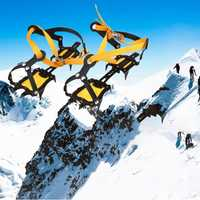 10 dientes de nieve garras seccionar las garras para al aire libre de esquí hielo nieve senderismo antideslizante zapatos de escalada cubre protección escalada AYXZ02