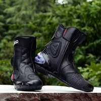 Bottes Moto cuir microfibre tribu equitation Pro motard vitesse motards Moto course Motocross chaussures