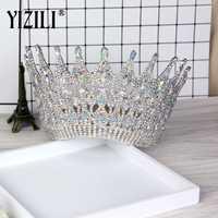 YIZILI Nouveau Luxe Grand Européen Mariée Couronne De Mariage En Cristal magnifique Grand Rond Reine Couronne De Mariage Accessoires De Cheveux C021