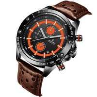 Reloj deportivo SENORS 2018 con función de reloj para hombre, relojes de lujo, a la moda, Casual, impermeable, de cuero genuino, reloj militar para hombre