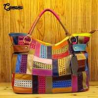 100% las mujeres de cuero genuino bolso de cuero, bolsas de hombro de Color de gran capacidad hueco costura bolsos de las mujeres