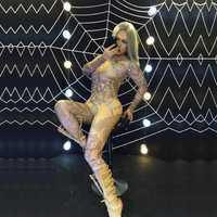 Vestido femenino bar discoteca concierto cantante bailarín sexy agua diamante rhinestone, rhinestone araña estiramiento rendimiento etapa