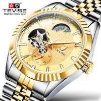 Relojes TEVISE Tourbillon para hombre reloj automático de lujo de marca famosa reloj mecánico de acero inoxidable