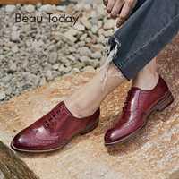 BeauToday Oxfords mujeres Punta de cuero genuino Piel de encaje puntiagudo dedo del pie dama Brogue zapatos hecho a mano 21094