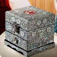 Hecho a mano concha de pera-caja de joyería con incrustaciones almacenamiento lacado artes de laca con cerradura 11,8x11,8x12 cm regalo de boda