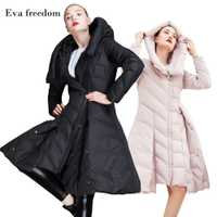 Eva freedom nueva gran oferta de invierno falda delgada péndulo chaqueta de plumas de invierno de moda de las mujeres chaqueta con capucha para las mujeres invierno 2018