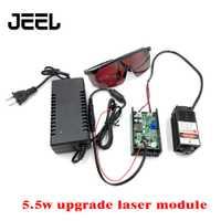 5,5 w de alta potencia 450NM con módulo láser azul de enfoque grabado láser con módulo TTL tubo láser de 5500 mw + brille