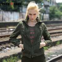 FREEARMY calidad con capucha chaqueta con capucha Mujer Chaquetas de otoño mujeres de las señoras de moda chaqueta verde chaquetas de abrigo de mujer más tamaño