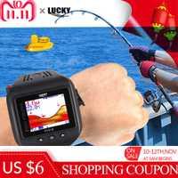 LUCKY FF518 2 en 1 reloj y buscador de peces reloj Sonar inalámbrico buscador de peces ecosonda portátil ecosonda ligera LCD buscador de pesca
