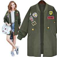Bombardero chaqueta primavera otoño chaqueta mujeres Tops manga larga Delgado verde ejército Outwear mujer básica chaqueta de abrigo punky w021