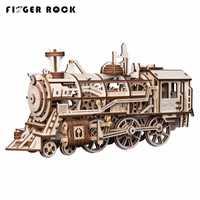 Doigt Rock 3D En Bois Clockwork Trains Engrenage Locomotive Assemblée Puzzles Jouets Éducatifs BRICOLAGE 3D Puzzles Pour Enfants