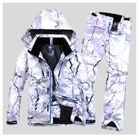 Nuevo estilo de los hombres traje de esquí traje de Super caliente ropa de esquí Snowboard chaqueta + pantalones traje conjunto impermeable a prueba de viento de invierno deporte al aire libre desgaste