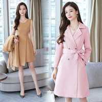 2019 Otoño de Primavera de dos piezas de las mujeres medio-largo abrigo + vestido sin mangas conjunto de traje de moda Slim OL trabajo Formal de negocios conjuntos