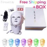 Foreverlily Led de 7 colores máscara Facial Led coreano de fotones terapia cara máscara máquina de terapia de luz máscara de acné cuello belleza Led máscara
