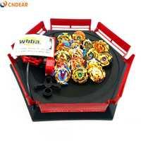 Oro estilo spin top explosión juguetes con lanzador de arranque y Arena de juguete Metal fusión Dios Spinning Top Blade juguetes de niño