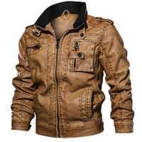 De los nuevos hombres de cuero de la PU chaqueta de invierno Piloto Militar chaquetas de moda de otoño prendas de la motocicleta Biker chaqueta de cuero de los hombres