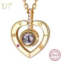 U7 925 mujeres de plata esterlina collar Nano grabado te amo en 100 idiomas joyería personalizada para el día de la madre. regalos SC25