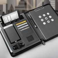 Tendances A5 taille carnet de voyage composition livre business manager sac dossier avec chargeur d'alimentation sans fil support de sac mobile