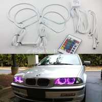 4 piezas Super brillante 7 color RGB LED Ángel ojos Kit con un control remoto para BMW E36 318 320 323 325 1992-1998