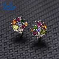 Bolai 100% tourmaline naturelle fermoir boucles d'oreilles 925 en argent sterling multi couleur pierre gemme floral bijoux de luxe pour les femmes 2019