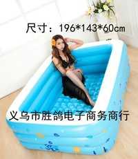 Gran Familia de niños al aire libre colorida burbuja de fondo salpicando bañera para adultos piscina inflable 196x143x60 cm