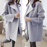 Jas Dames chaqueta gruesa ocasional Outwear abrigo de lana de las mujeres suelta Outwear mujer Otoño Invierno señoras abrigos invierno 50OC14