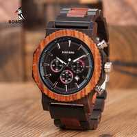 Reloj BOBO BIRD de gran tamaño 51 mm para hombre, reloj de cuarzo masculino hecho en madera, relojes de marca top lujosa para regalo de papá, reloj de mujer, aceptamos logo personalizado