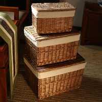 Clásico tejidas a mano hogar almacenamiento cesta de mimbre con tapa para ropa artículos casa Pastoral de mimbre cesta de lavandería con camisas