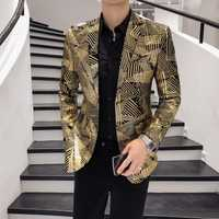 De lujo de oro rayas Blazer impresión Masculino Slim Fit Chaqueta de los hombres Hombre Plus tamaño 5xl etapa de tela para Dj cantante Chaqueta hombre