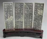 Maravilloso viejo Tíbet plata 4 con ciruela, orquídea, bambú, crisantemo estatua en soporte de madera