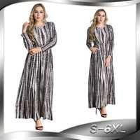 Primavera y otoño de las mujeres Vestido de manga larga de cuello Plus tamaño 6XL a cuadros de mujeres Abaya musulmana vestido largo islámica ropa Dubai vestido