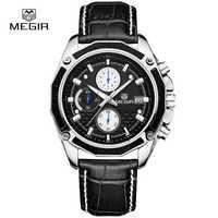 Relojes Megir para hombre, Relojes de Cuero de lujo, relojes de cronógrafo famosos para hombre, reloj informal, reloj masculino, ML2015