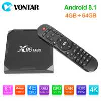 X96Max caja de TV inteligente Android 8,1 Amlogic S905X2 Quad Core LPDDR4 4 GB 64 GB 2,4G 5G Dual wifi BT 1000 M H.265 4 K Set Top Box X96.
