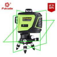 Fukuda Nivel Láser 12 líneas 3D MW-93T-3GX nivelel láser 360 Horizontal y Vertical Cruz Super potente rayo láser verde OSRAM LD