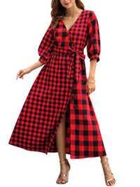 HEE gran primavera de 2019 nuevo vestido de las mujeres de media manga vestido de cuello en V Mid-Cintura mosaico de moda Casual vestido WQL5777