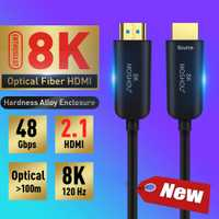 MOSHOU de fibra óptica Cable HDMI 2,1 Ultra-HD (UHD) 8 K Cable 120 GHz 48Gbs con Audio y Ethernet Cable HDMI HDR 4:4:4 sin pérdida de Cable