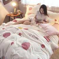 Nuevo invierno cama de cuatro-pieza de copo de nieve de una sola flor frutas patrón Animal caliente lindo engrosamiento cómodo franela suave edredón