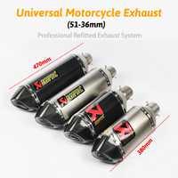 51mm universal Akrapovic escape motocicleta silenciador tubo largo 380mm 470mm pegatina Acero inoxidable fibra de carbono DB asesino para Dirt Bike